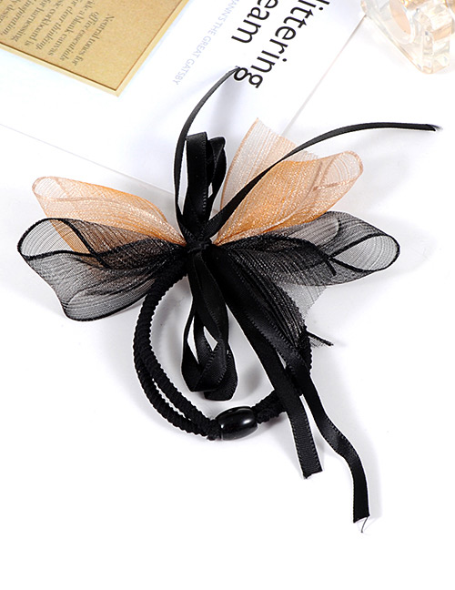 Fashion Black+orange Bowknot Decorated Double Layer Hair Band