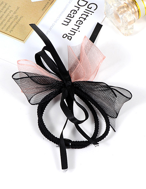Fashion Pink+black Bowknot Decorated Double Layer Hair Band