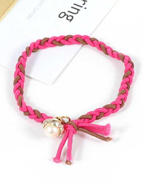 Fashion Plum Red Pearls Decorated Simple Hair Band