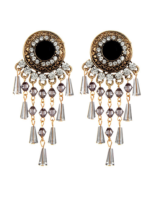 Fashion Gray Round Shape Design Tassel Earrings