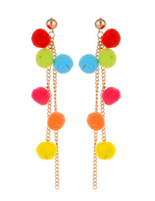 Fashion Multi-color Fuzzy Balls Decorated Long Tassel Earrings