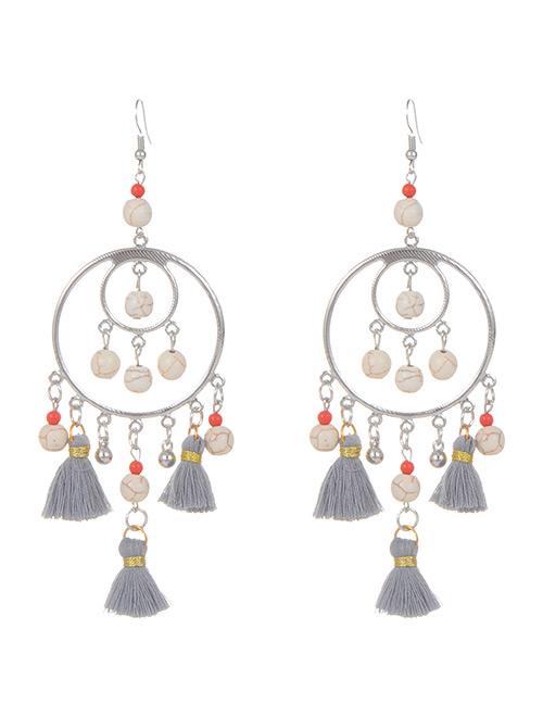 Fashion Gray Beads Decorated Short Tassel Earrings