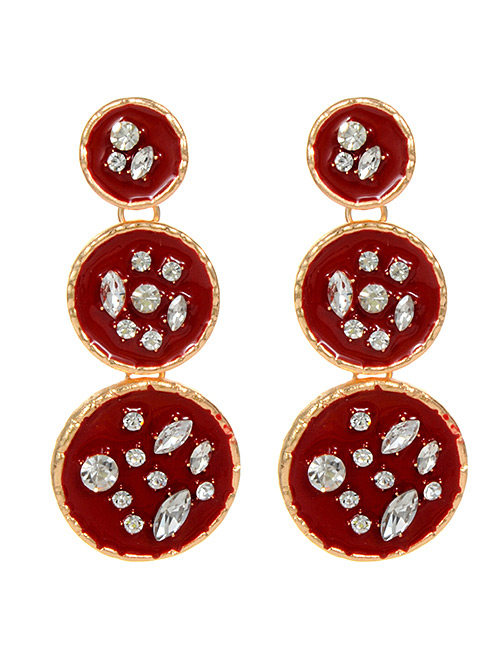 Fashion Red Round Shape Design Long Earrings