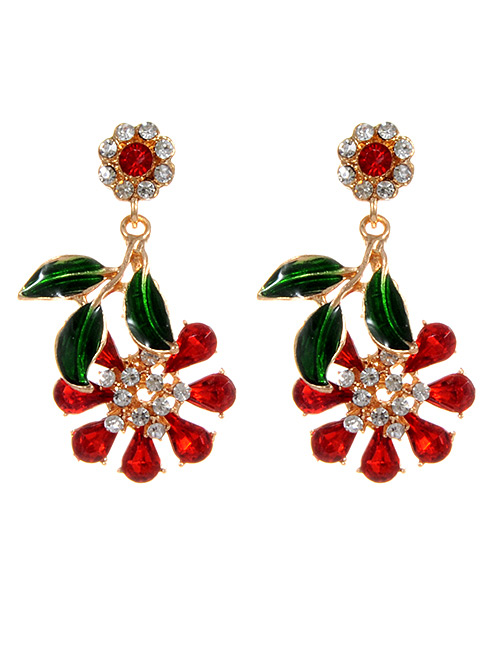 Fashion Red Flowers Shape Design Simple Earrings