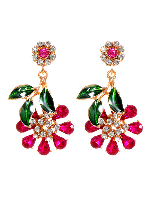Fashion Plum Red Flowers Shape Design Simple Earrings