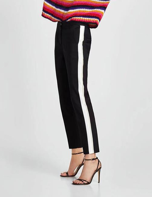 Fashion Balck+white Stripe Pattern Decorated Pants