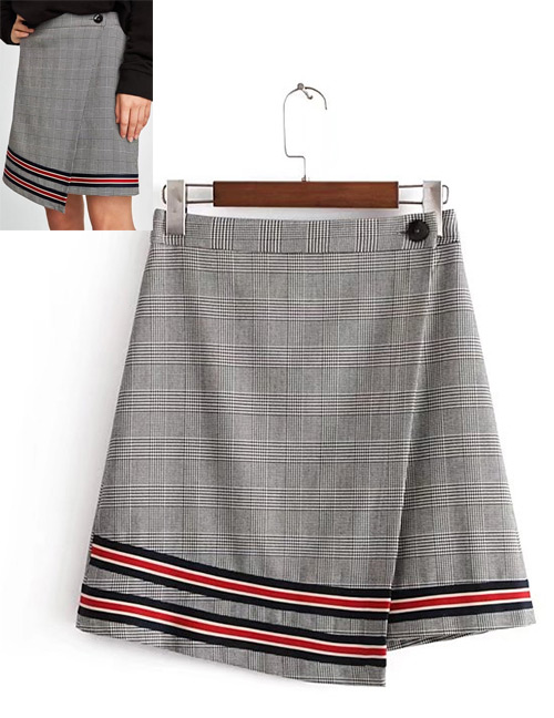 Fashion Gray Grid Pattern Decortaed Skirt