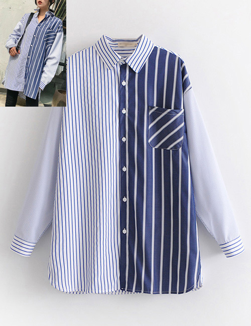 Fashion Blue Color-matching Decorated Shirt
