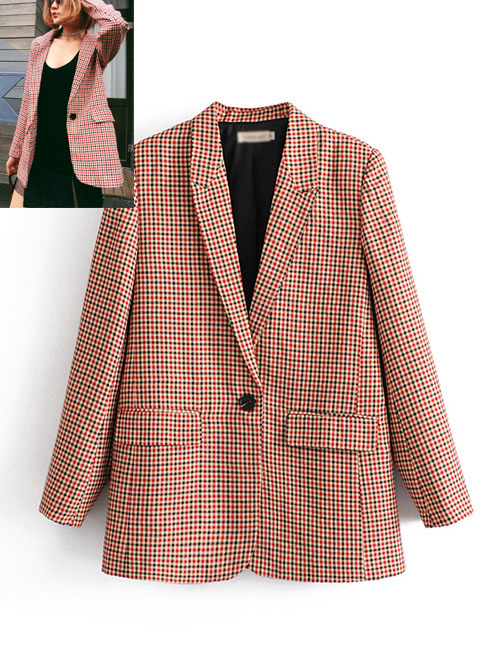 Fashion Orange Grid Shape Decorated Coat