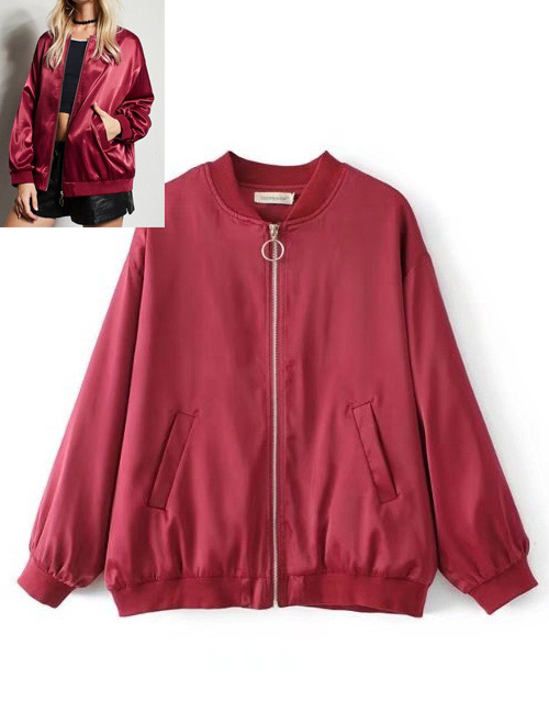 Fashion Claret-red Pure Color Decorated Coat