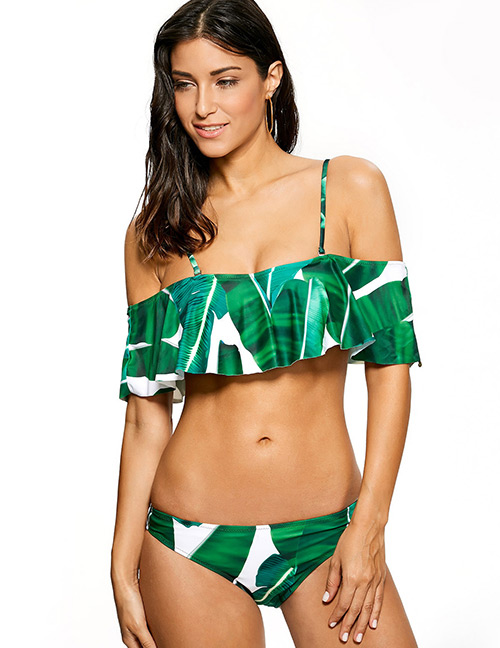 Sexy Green Leaf Shape Decorated Swimwear