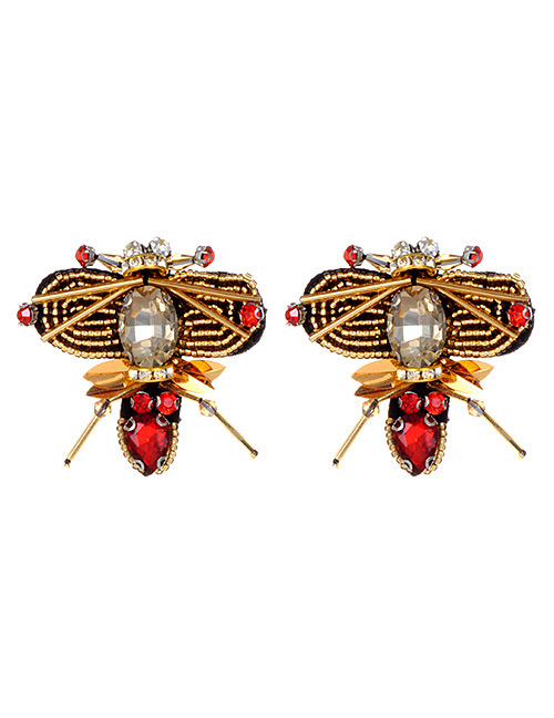 Fashion Red Bee Shape Decorated Earrings