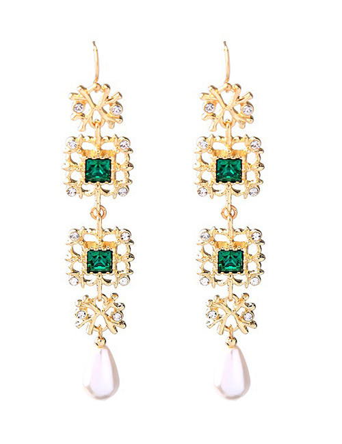 Fashion Green Square Shape Design Hollow Out Earrings