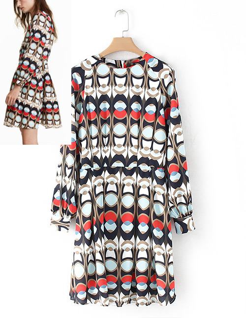 Fashion Multi-color Geometric Shape Pattern Decorated Long Sleeves Dress