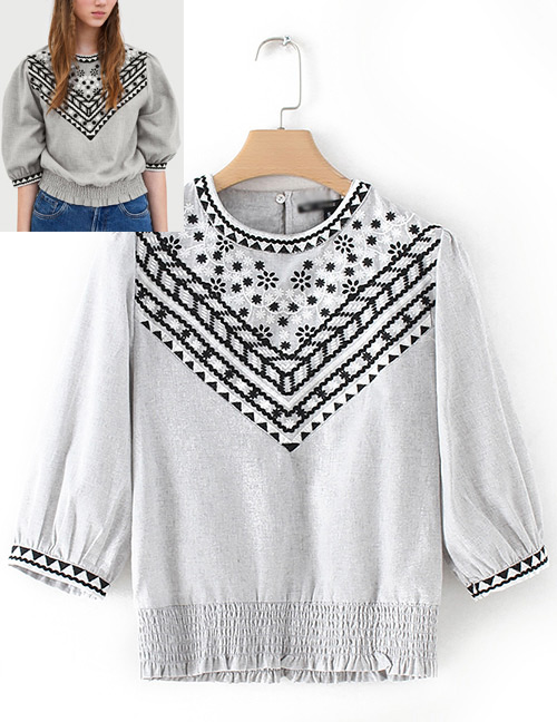Fashion Gray Embroidery Flower Design Blouse