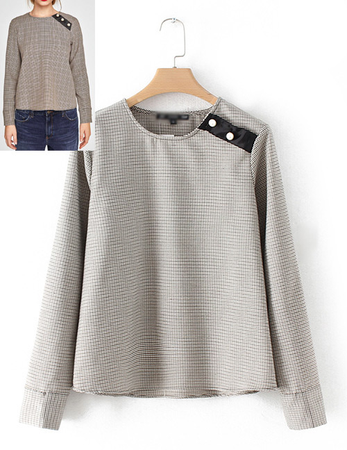 Fashion Gray Pure Color Decorated Blouse