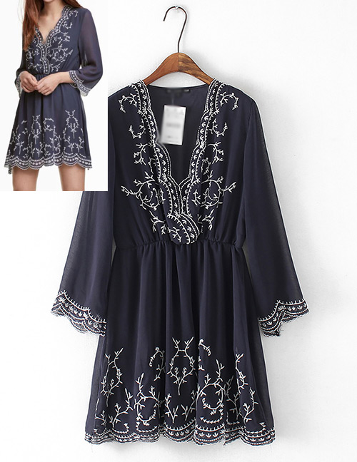 Fashion Navy Embroidery Flower Design Long Sleeves Dress