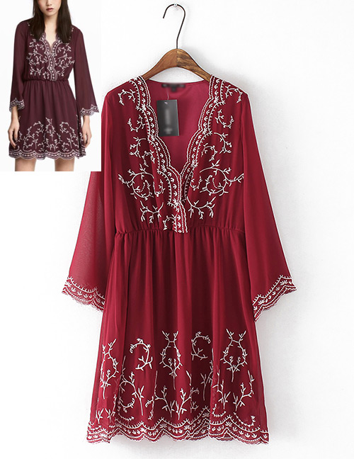 Fashion Claret Red Embroidery Flower Design Long Sleeves Dress