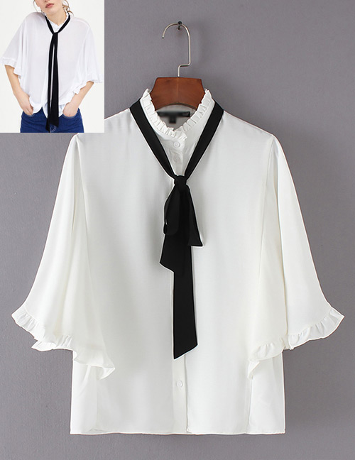 Fashion White Bowknot Shape Decprated Blouse