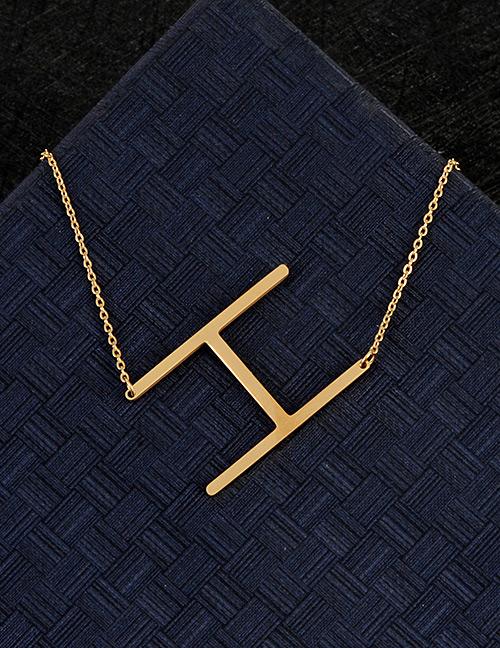Fashion Gold Color H Letter Shape Decorated Necklace