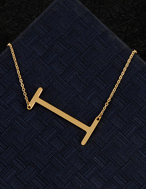 Fashion Gold Color I Letter Shape Decorated Necklace