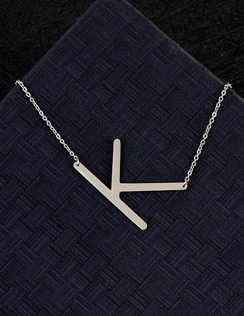 Fashion Silver Color K Letter Shape Decorated Necklace
