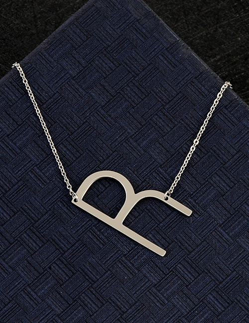 Fashion Silver Color R Letter Shape Decorated Necklace