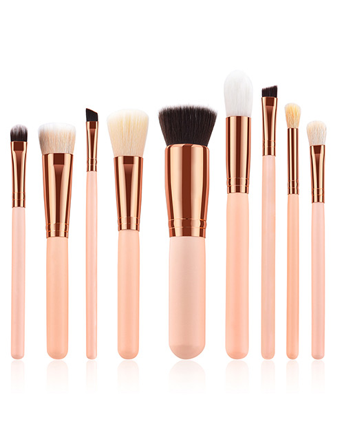 Fashion Pink Round Shape Decorated Makeup Brush(8 Pcs )