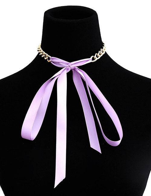 Fashion Purple Pure Color Decorated Choker
