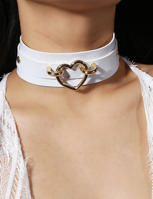 Fashion White Heart Shape Decorated Choker