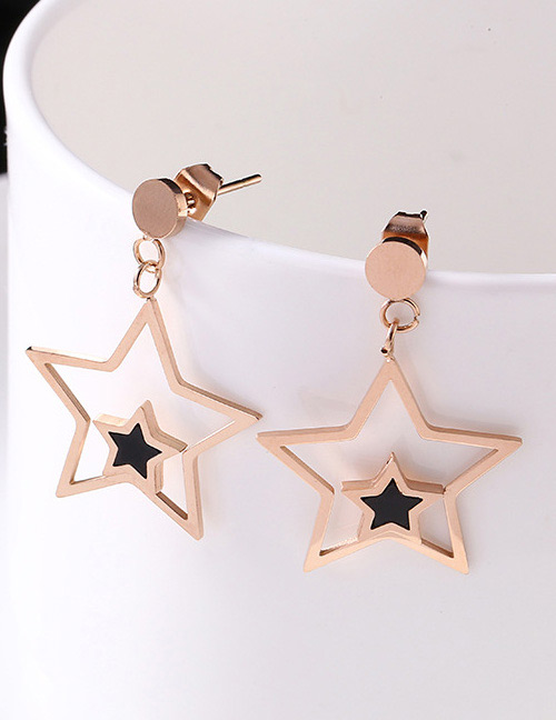 Fashion Rose Gold+black Star Shape Decorated Earrings