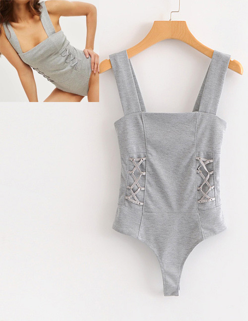 Fashion Gray Pure Color Decorated Jumpsuit