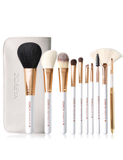 Fashion White Sector Shape Decorated Makeup Brush (10 Pcs )