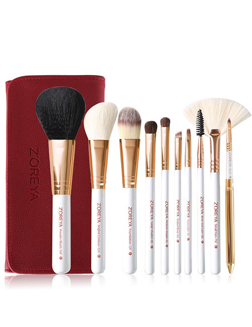 Fashion Red Sector Shape Decorated Makeup Brush (10 Pcs )