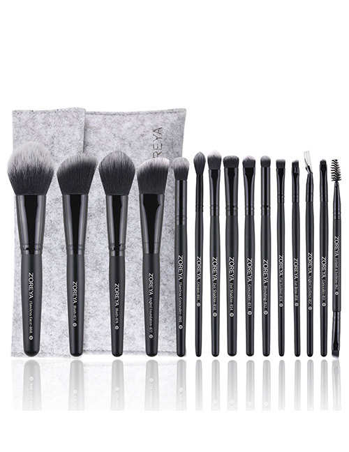 Fashion Black Round Shape Decorated Makeup Brush ( 15 Pcs )