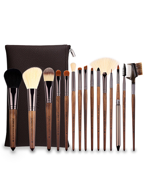 Fashion Coffee Sector Shape Decorated Makeup Brush (15 Pcs )