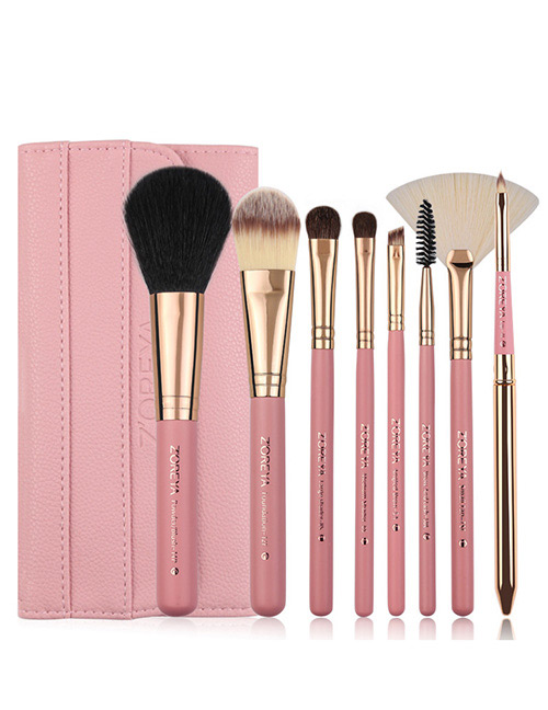 Fashion Pink Sector Shape Decorated Makeup Brush (8 Pcs )
