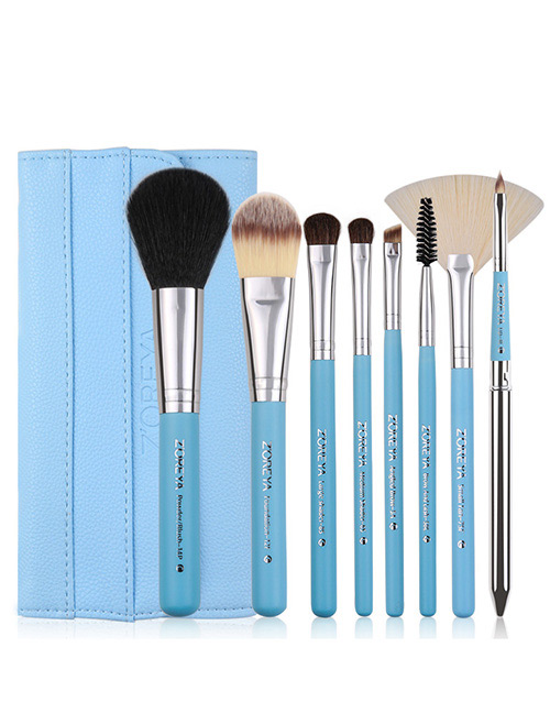 Fashion Blue Sector Shape Decorated Makeup Brush (8 Pcs )