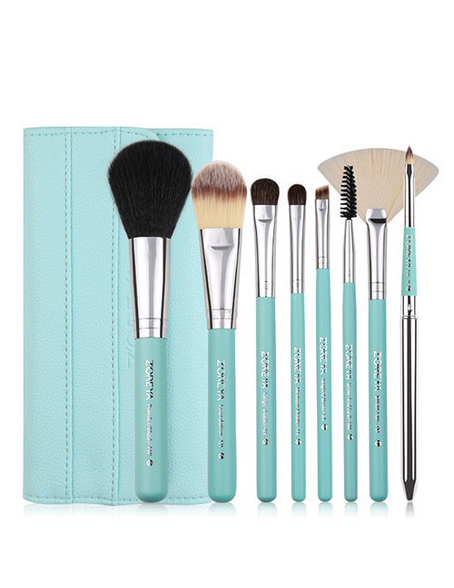 Fashion Green Sector Shape Decorated Makeup Brush (8 Pcs )