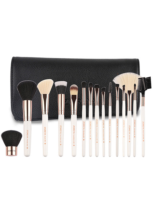 Fashion White Sector Shape Decorated Makeup Brush (15 Pcs )