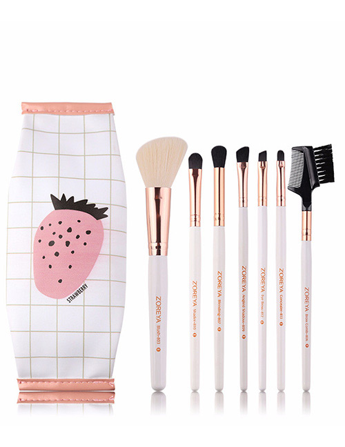 Fashion White Strawberry Pattern Decorated Makeup Brush (7 Pcs With Bag)
