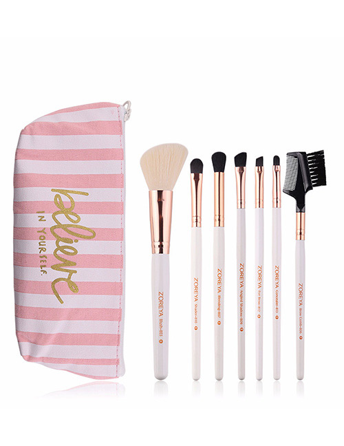 Fashion White Stripe Pattern Decorated Makeup Brush (7 Pcs With Bag)