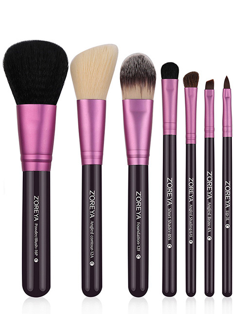 Fashion Purple Pure Color Decorated Makeup Brush (7 Pcs )