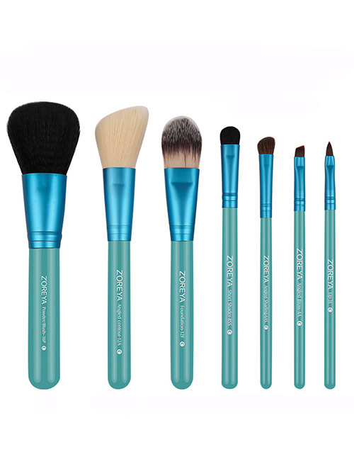 Fashion Green Pure Color Decorated Makeup Brush (7 Pcs )