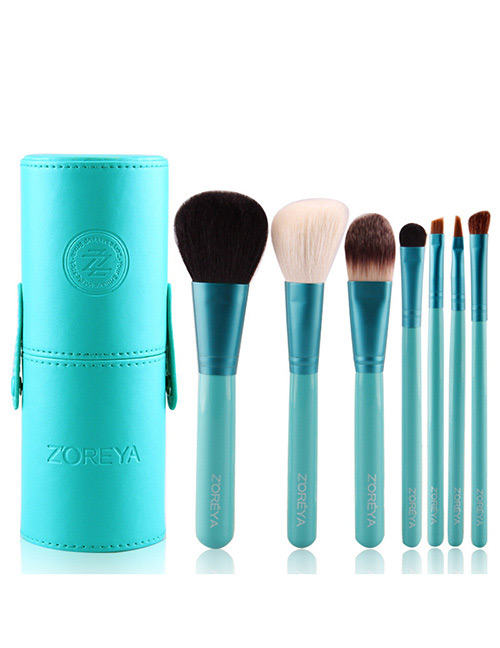Fashion Green Pure Color Decorated Makeup Brush (7 Pcs With Bag)