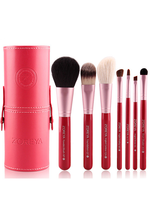 Fashion Red Pure Color Decorated Makeup Brush (7 Pcs With Bag)