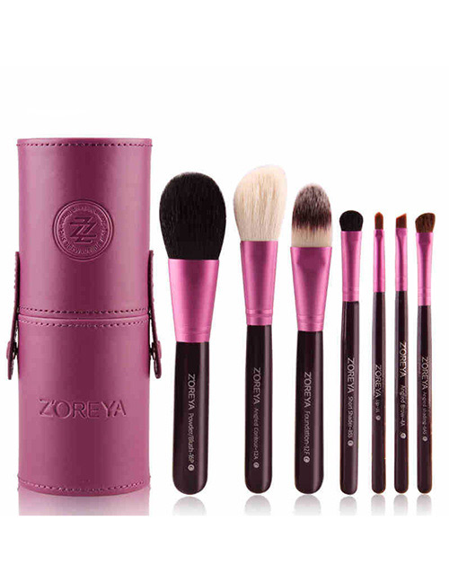 Fashion Purple Pure Color Decorated Makeup Brush (7 Pcs With Bag)