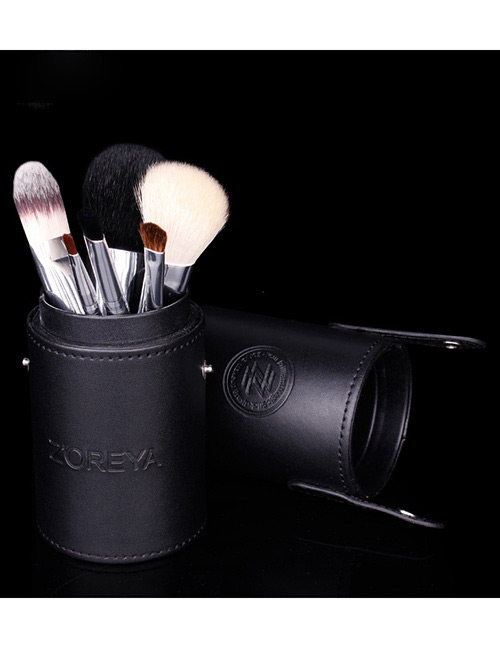 Fashion Black Pure Color Decorated Makeup Brush (7 Pcs With Bag)