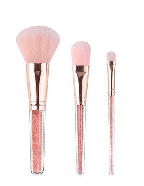 Fashion Pink+red Round Shape Decorated Makeup Brush (3 Pcs )