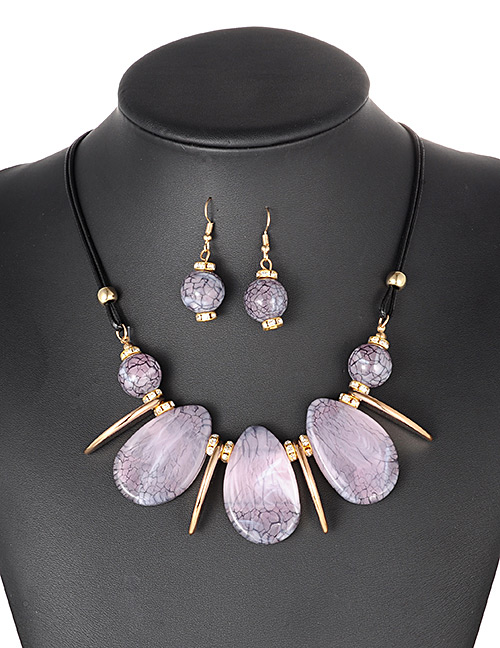 Fashion Purple Water Drop Shape Decorated Jewelry Set